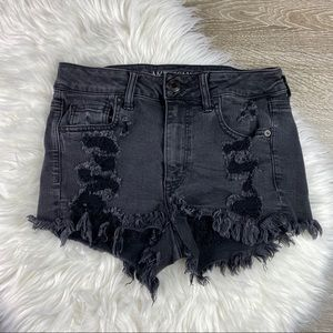 AEO High Rise Shortie Black Distressed Shorts